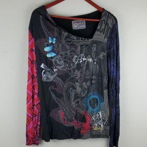 Desigual loves knitwear blouse size XL